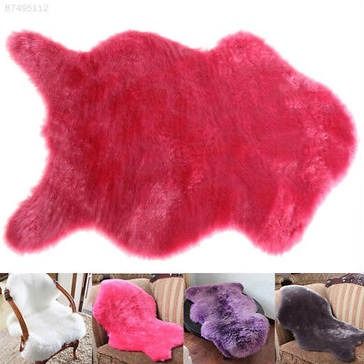 B659 Washable Fur Fluffy Wool 2-in-1 Chair Seat Carpet Plain Rug Mat Bedroom