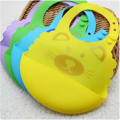 Baby Silicone Fold Cartoon Bib Infant Towel bibs Buckle Bibs Rice Pocket B