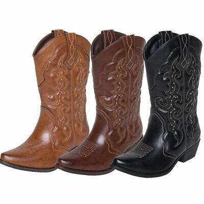 SheSole Womens Ladies Cowgirl Cowboy Boots Mid Wide Calf Western Shoes SIZE 3-9
