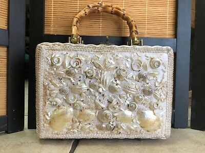 Vintage White Wicker Purse Hand Bag Bamboo Handle Sea Shells Gold Ritter Japan