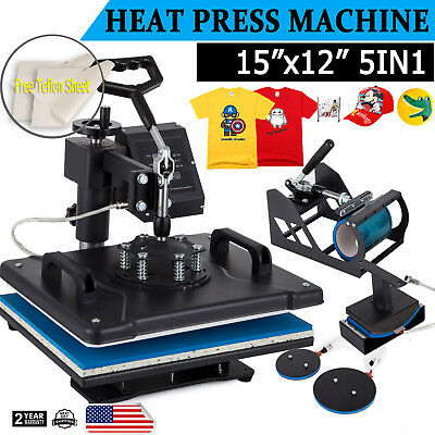Digital Heat Press Machine 5in1 Multifunctional Transfer Sublimation 38 x 29cm