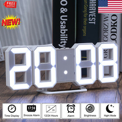Digita LED Digit Large 3D Table Wall Clock Dimmer Alarm Snooze Home Decor White