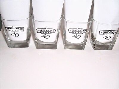 Set Of 4 Forty Creek 40 Creek Whisky Square To Round Glasses New