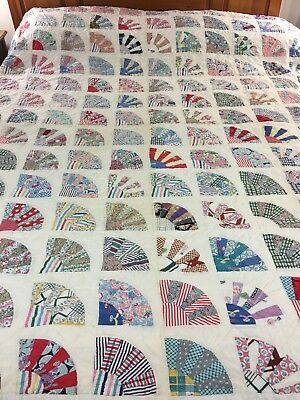 """Omg! Vintage Handmade Hand Stitched Feed Sack Grandmothers Fan Quilt 72"""" X 80"""""""