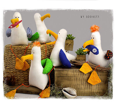 Tomston - The Seagull with Fish PDF plush / soft toy bird sewing pattern - DIY