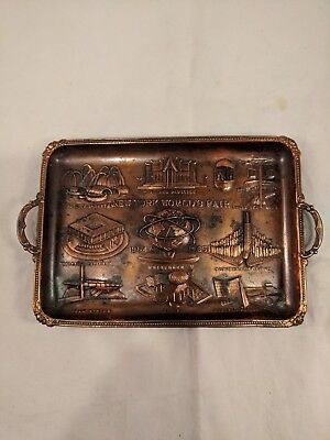 Vtg Copper-Colored New York World's Fair Coin Tray, 1964-1965, Pre-Owned