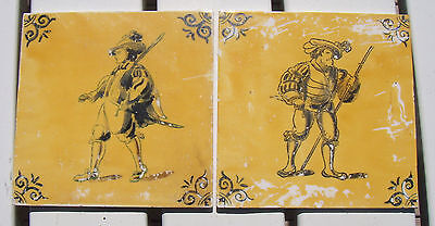 Set of 2 Antique Ceramic Tiles Royal Mosa Holland Dutch Yellow Soldier Musketeer