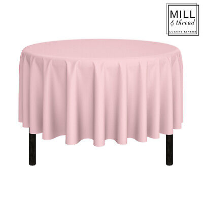 """90"""" Round Wedding Banquet Polyester Fabric Tablecloth - Pink"""