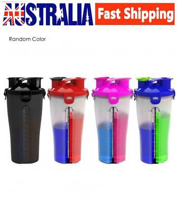 AU! Dual Shaker Protein Blender Mixer Hydra Cup 2 Compartment Sport Bottle 850ml