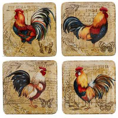 Certified International Gilded Rooster Salad Plates (Set of 4)