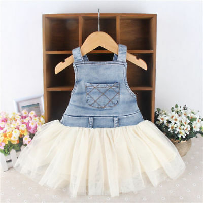 AU Kid Baby Clothes Toddler Tutu Girl Tulle Denim Jeans Stiching Overalls Dress