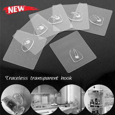 6Pcs Anti-skid Hooks Reusable Transparent Wall Hanging Hooks Strong Sticky