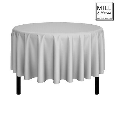 """90"""" Round Wedding Banquet Polyester Fabric Tablecloth - Silver"""