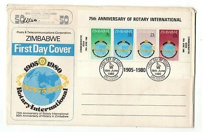 1980 Zimbabwe - Rotary International Large Fdc From Collection 6/5