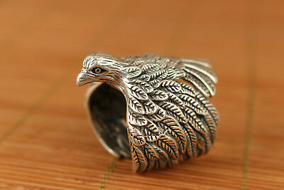 chinese Rare 18g 925fine Silver Hand Carved Eagle Statue Ring noble gift