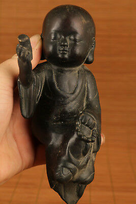 Big blessing old Bronze hand carving buddha statue Set table home decoration