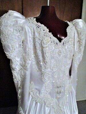 VINTAGE 1980s  BEADED WEDDING GOWN with CATHEDRAL TRAIN sz 14-16