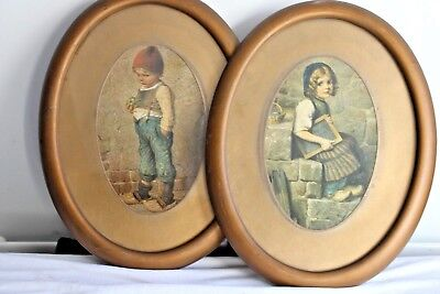 antique oil painting pair of dutch?oval portrait pictures  b2068