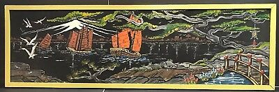 Vintage Japanese Hand Painted Large Picture Ships Mount Fuji City Etc Beautiful
