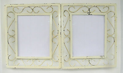 2 Heavy Antique Vtg Picture Frame Wall Hanging Cast Iron Mid Century Shabby Chic