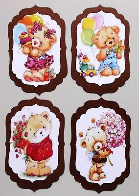 ASSORTED CUTE BEARS TOPPER SELECTION WITH BROWN BACKGROUNDS x 4 SETS EASY DIY