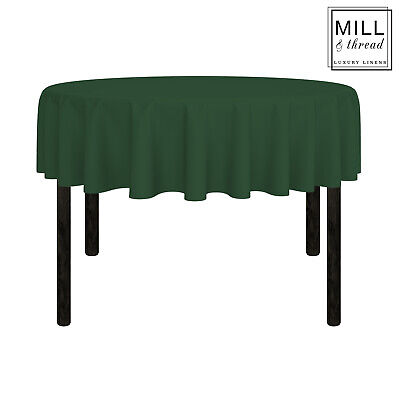 """70"""" Round Wedding Banquet Polyester Fabric Tablecloth - Hunter Green"""