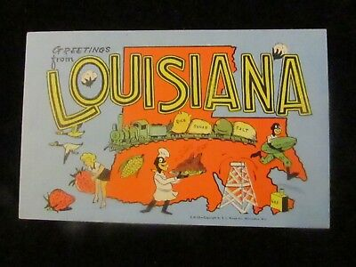 LARGE LETTER Postcard, Greetings from Louisiana