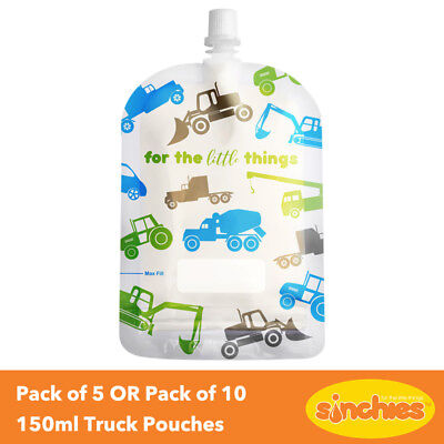 Sinchies Reusable Pouches 150ml Truck Design - Pack of 5 OR Pack of 10