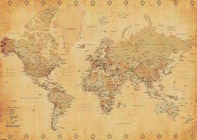 World map XXL Poster (World Map Vintage Style) 140 x 100 cm