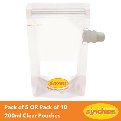 Sinchies Clear Reusable Food Pouches 200ml: Side Spout - Pack of 5 OR Pack of 10