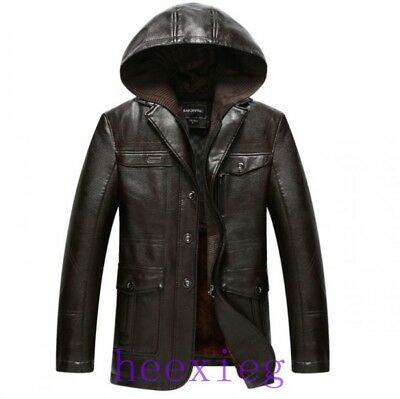 Mens Hooded PU Leather Jacket Fur Lining Winter Warm Thicken Coat Outwear Parka