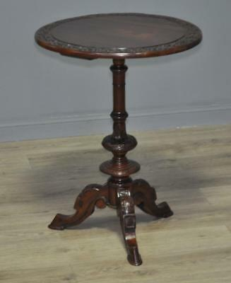 Antique Style Carved Mahogany Pedestal Occasional Side Table