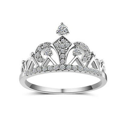 Elegant Princess Crown Rhinestone Women Engagement Wedding Rings Jewelry B