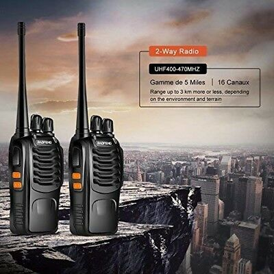 Talkie Walkie16 Canaux 2-Way Radio Longue Portée Rechargeable