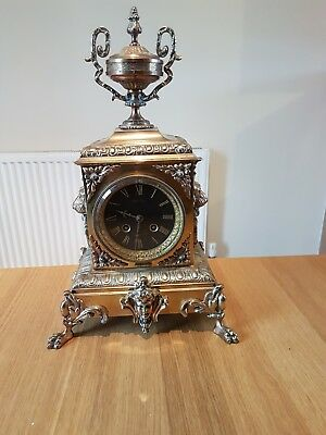 Antique Japy Freres French  Mantel Clock. Bronze Or Brass Not Sure. Nice clock.