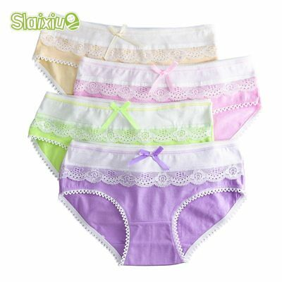 4-Pack Teenage Lace Pants Underpants Floral Young Girl Briefs Candy Colors for