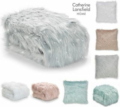 Catherine Lansfield Metallic Fur Throw Or Cushion Covers Soft Glitter Sparkle