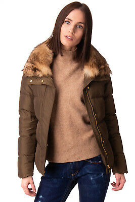 MICHAEL MICHAEL KORS Down Quilted Jacket Size XL Coyote Fur Zipped Cuffs RRP€490