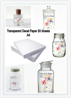 20 Packs Water Slide Decal Paper A4 Size Inkjet Clear Transfer Paper