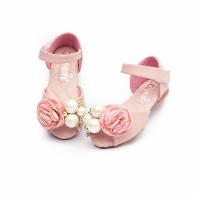 Genuine Leather Sandals For Girls Wedding Party Toddler Baby Shoes Flower Pearl