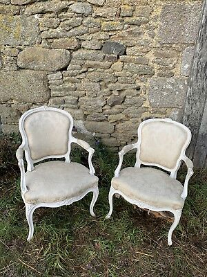 Pair Of Antique French Louis XV Style Elbow Chairs In Cream Silk