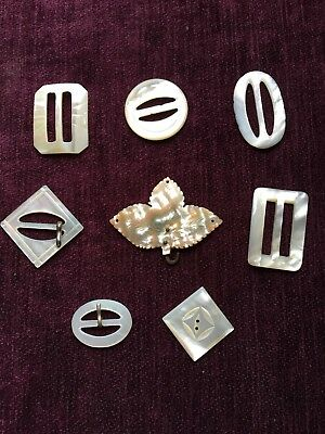 Mother of pearl vintage belt buckles and buttons