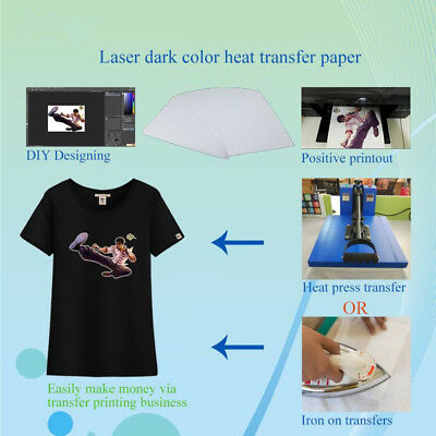 10 Sheets T-Shirt Iron On Inkjet Heat Transfer Paper For Dark color Fabrics A4