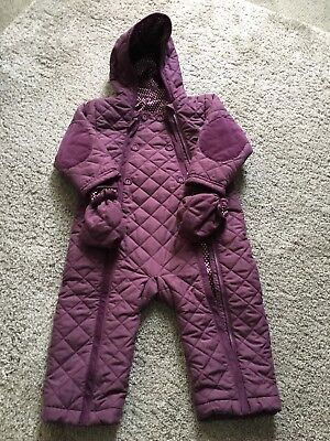 c06443ad1bfe BABY GIRLS SNOWSUIT 12-18 months - lilac   animals - £11.50 ...