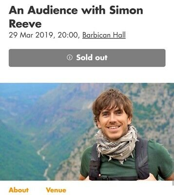 An Audience With Simon Reeve 2 Tickets London Barbican SOLD OUT