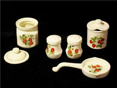 Lot 7pc Vintage Ceramic Cream Red Strawberries Salt Pepper Jars Spoon Rest USA