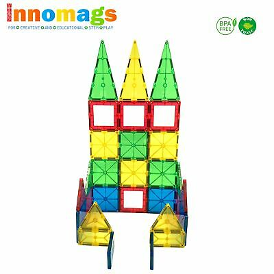 Magnet Tiles 64 PC Magnetic Building Blocks Tile Set Clear 3D Stem Toy Education
