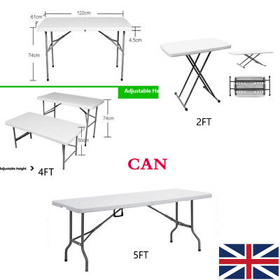 2.5FT 4FT 6FT Heavy Duty Folding Table Camping Trestle Picnic BBQ Plastic Tables