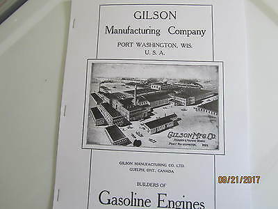 Gilson Manufacturing Co Gas Engine Information Type Catalog Manual