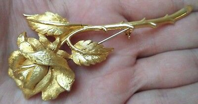 "Stunning Vintage Estate Signed Charel Gold Tone Flower 3 3/4"" Brooch!!! 1828C"